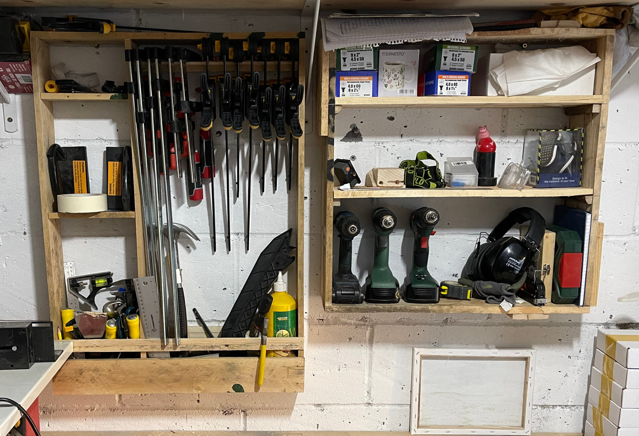 Store tools on wall