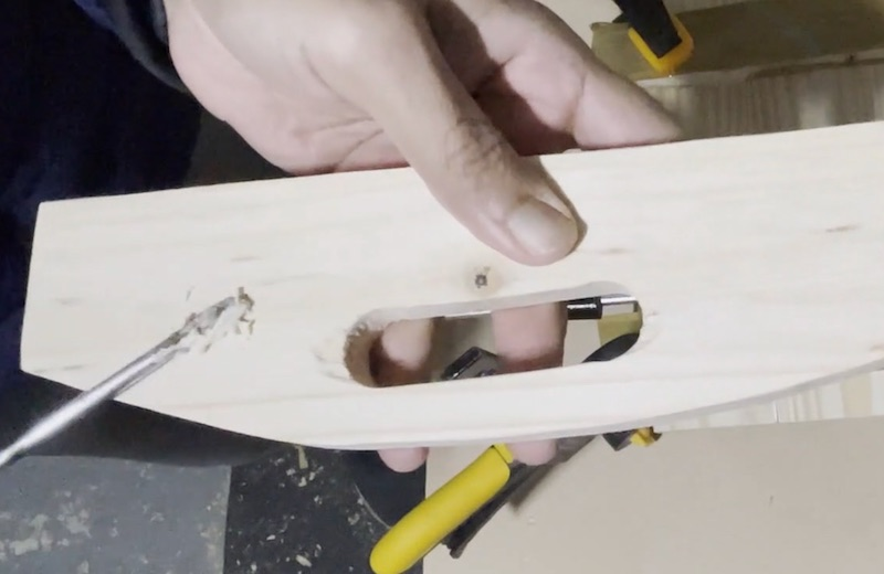 Fill with wood filler