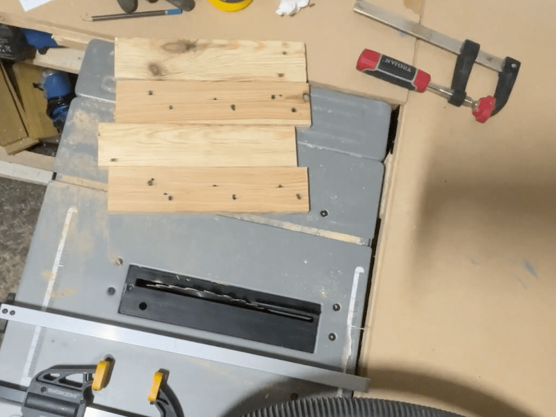Cut boards to form sides, shelves and top