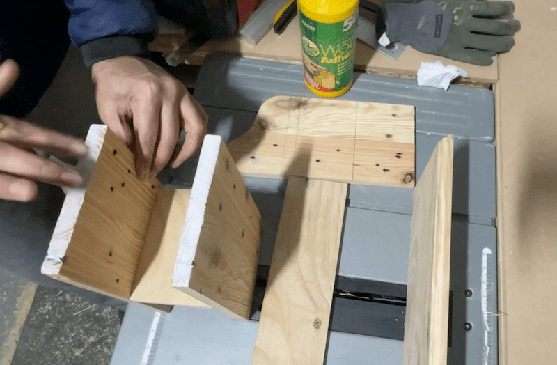 Glue the shelves to the side and the top